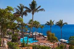Pool bij het eiland van Tenerife - Kanarie Stock Foto