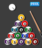Pool-Billard Art Flat Design Lizenzfreie Stockbilder