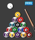 Pool Billiard Art Flat Design Royalty Free Stock Images