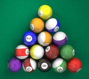Pool billiard ball on green. A lot of billiard ball on green background Stock Photography