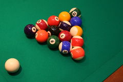 Pool billiard balls. On a green table Royalty Free Stock Photos