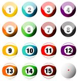 Pool or billiard balls. All balls used in a pool or billiards game, numbered and arranged vector illustration