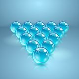 Pool or billiard balls made of glass. Royalty Free Stock Photography