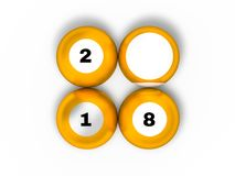 Pool billiard balls in new year 2018 position. 3D. Rendering Royalty Free Stock Photos