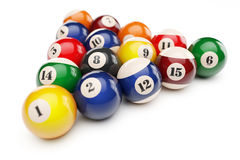 Pool billiard balls pyramid Royalty Free Stock Images