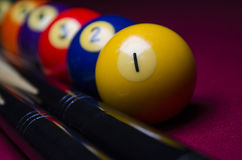 Pool Billiard Balls on Red felt table Dramatic shadowed Royalty Free Stock Photo