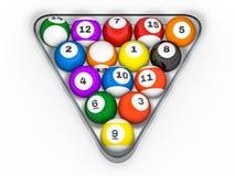 Pool billiard balls in starting position. 3D. Rendering Royalty Free Stock Photos