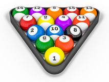 Pool billiard balls in starting position. 3D. Rendering Stock Photography