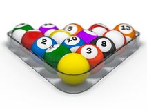 Pool billiard balls in starting position. 3D. Rendering Stock Image