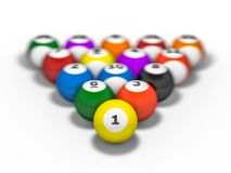 Pool billiard balls in starting position. 3D. Rendering Royalty Free Stock Images