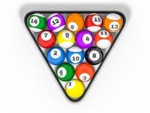 Pool billiard balls in starting position. 3D. Rendering Stock Images