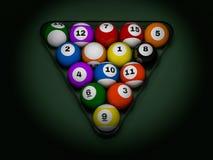 Pool billiard balls in starting position. 3D. Rendering Stock Photos