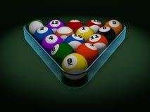 Pool billiard balls in starting position. 3D. Rendering Royalty Free Stock Image