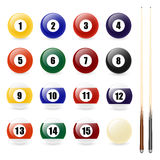 Pool - billiard balls and two cues Royalty Free Stock Photos