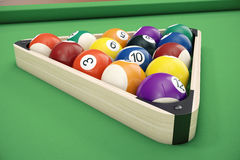 Pool billiard balls in a wooden rack, commonly used starting position, 3D illustration on green background. Pool billiard balls in a wooden rack, commonly used Stock Image