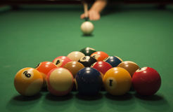 Pool (billiard) game. The start of the game of pool (billiard). Episode of pool game play royalty free stock photo