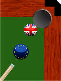 Pool billiard hole with Europe and British balls Stock Photography