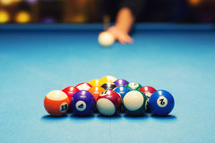 Pool billiard - ready for break shot Stock Images