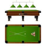 Pool Billiard Table And Furniture Set Stock Photo