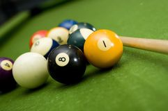 Pool - billiards. Shooting a game of poor or billiards royalty free stock images