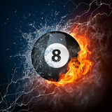 Pool Billiards Ball. In Fire & Water. Computer Graphics Stock Photos