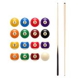 Pool billiards balls and cue vector game icon. Pool or American billiards balls with numbers and cues. Vector icon of snooker colored balls and wooden gaming cue Royalty Free Stock Photos