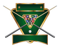Pool or Billiards Emblem Design. Illustration of a pool or billiards design that includes a rack of pool or billiard balls and crossed sticks or cues Royalty Free Stock Photo