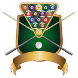 Pool or Billiards Emblem Design Shield Stock Photo