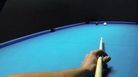 Pool billiards game - pocketing the eight - cue POV