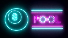 Pool billiards neon sign lights logo text glowing multicolor stock footage