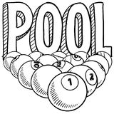 Pool billiards sketch. Doodle style pool or billiards illustration in vector format. Includes text and pool balls Royalty Free Stock Photos