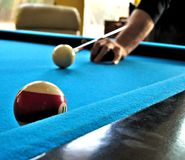 Pool or billiards table with cue ball and blue felt. Pool or billiards table with cue ball and felt Stock Photos