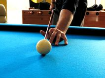 Pool or billiards table with cue ball and blue felt. Pool or billiards table with cue ball and felt Royalty Free Stock Photos