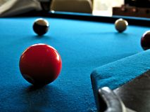 Pool or billiards table with cue ball and blue felt. Pool or billiards table with cue ball and felt Stock Photography