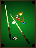 Pool / billiards table with a few balls present Stock Photography