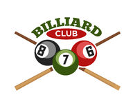 Pool or billiards vector icons set. Pool or billiards vector icon or template of cues and balls for poolroom game club contest. Emblem or logo for championship vector illustration