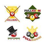 Pool or billiards vector icons set Royalty Free Stock Photography