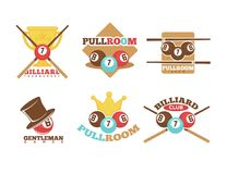 Pool or billiards vector icons set Stock Photos