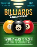 Pool billiards vector tournament poster. Pool billiards tournament announcement poster template of color balls and snooker cues on green table. Vector design for Royalty Free Stock Images
