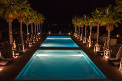 Pool bis zum Nacht Stockfotografie