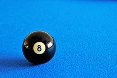 Pool black ball. Number eight Royalty Free Stock Image