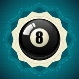 Pool Black Ball number eight. Vector badge - icon stock illustration