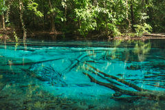 Pool blue forest in Thailand. Pool blue forest in Thailand calming, beautiful and clear Royalty Free Stock Images
