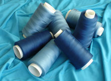 Pool of Blue Spools. Spools of Blue Threads Stock Photos