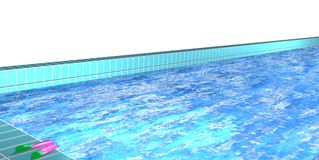 Pool with blue water, empty and inviting. Fins waiting next to the water edge, 3D illustration over a white background Royalty Free Stock Photo