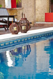Pool with blue water in a luxury hotel royalty free stock photos