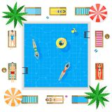 Pool with Blue Water Summer Vacation Concept. Vector. Pool with Blue Water Summer Vacation Concept Top View Include of Sunbed, People, Parasols and Palms. Vector Stock Images