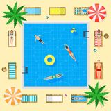 Pool with Blue Water Summer Vacation Concept. Vector Royalty Free Stock Images