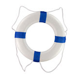 Pool and boat throwable life saver buoy blue rings. Throwable life saver buoy isolated on a white background for use on a boat or at a pool Stock Images