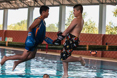 Pool boxing kids. Pool boxing competition at school on children day in Thailand Stock Photography
